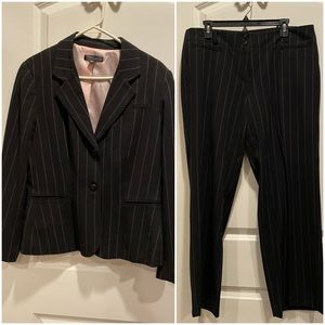 Black and white pinstripe suit. LIKE NEW